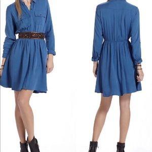 Anthro Maeve Dakota Blue rayon shirt dress XL